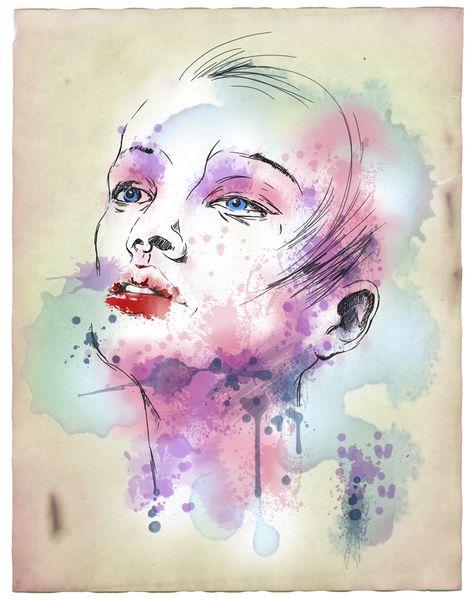 Gesicht, Frau, Mixedmedia, Portrait, Grafik, Graffiti