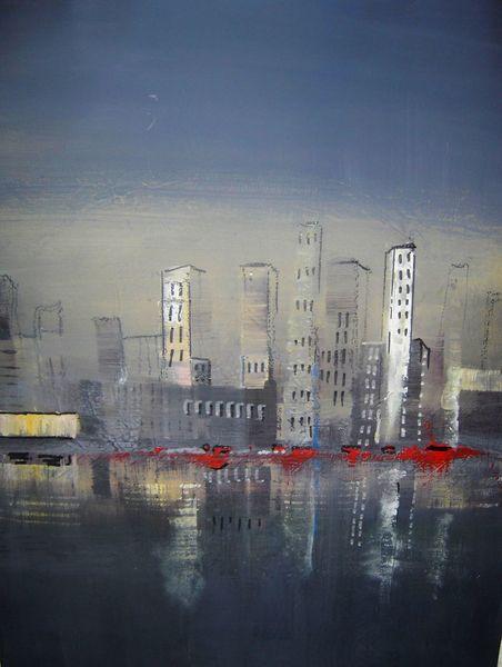 Skyline, Blau, Acrylmalerei, Malerei,