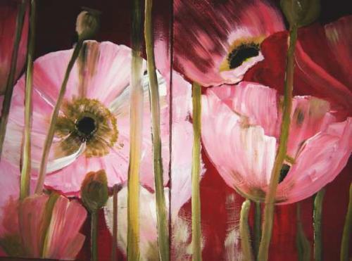 Malerei, Blumen, Mohn, Rosa