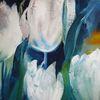 Blatt und blüte, Tulpen, Weiß, Malerei