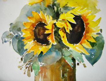 sonnenblumen sonnenblumen aquarell blumen von annemohn bei kunstnet. Black Bedroom Furniture Sets. Home Design Ideas