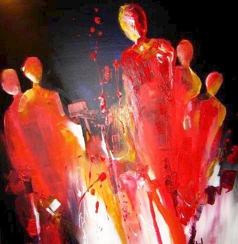 Menschen, Rot, Acrylmalerei, Malerei, Zusammen,
