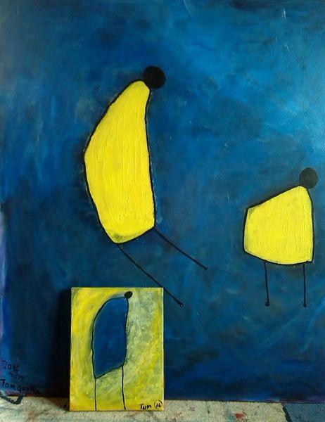Moment, Gelb, Blau, Abstrakt, Malerei