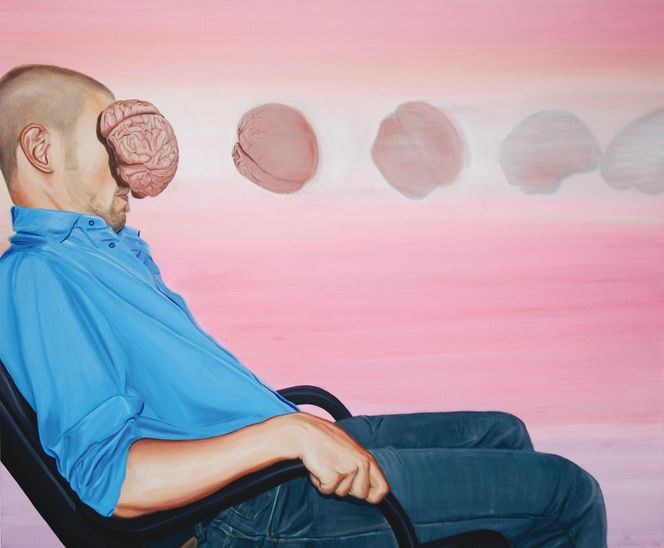 Gehirn, Fotorealismus, Mann, Malerei, Sitzen, Acrylmalerei