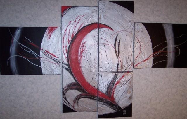 Abstrakt, Explosion, Rot schwarz, Aluminium, Malerei