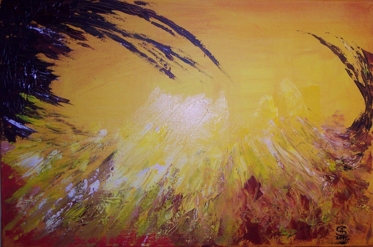 warme farben malerei, 0083 reise ins licht - spachteltechnik, acrylmalerei, warme farben, Innenarchitektur