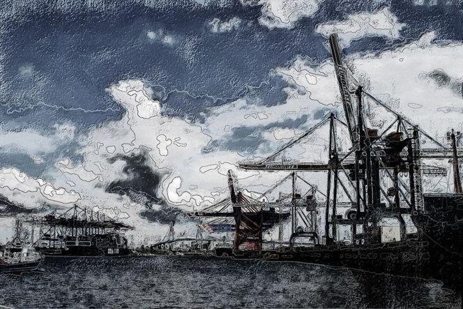 Hafen, Hamburg, Containerterminal, Kran, Lumière noir, Digitale kunst