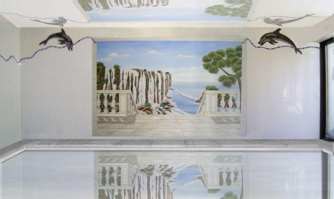 Illusionsmalerei, Trompe, Schwimmhallengestaltung, L oeil, Acrylmalerei, Realismus