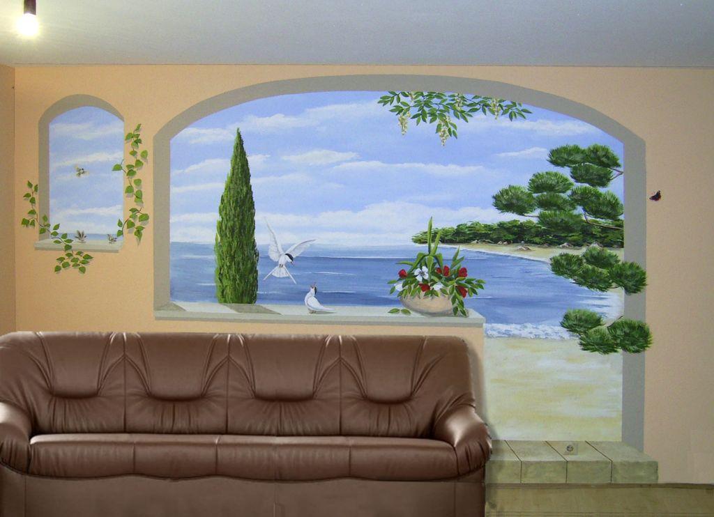 Ot illusionsmalerei wandmalerei wohnzimmer malerei - Wandmalerei wohnzimmer ...