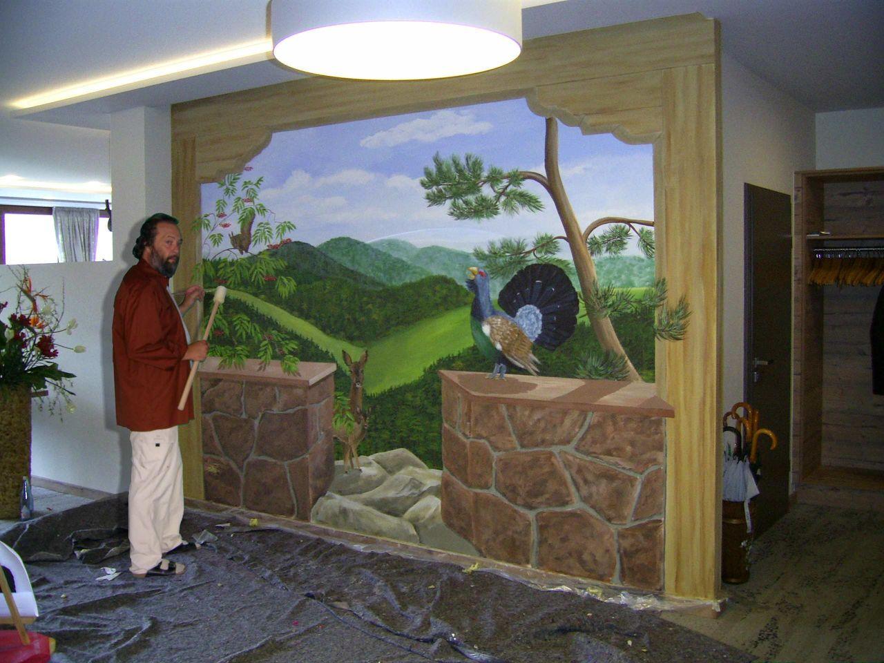 bild wandmalerei illusionsmalerei schwarzwaldlandschaft. Black Bedroom Furniture Sets. Home Design Ideas