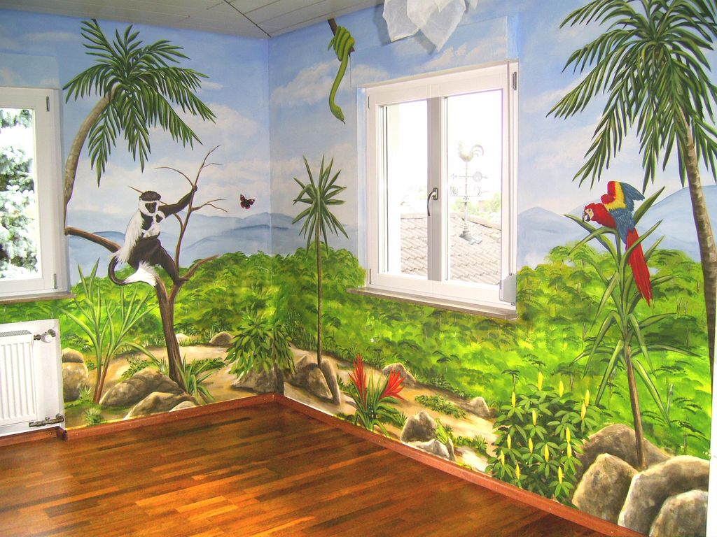 bild wandmalerei kinderzimmer malerei menschen von roland schmid bei kunstnet. Black Bedroom Furniture Sets. Home Design Ideas