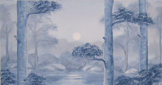 Dämmerung, Nebel, Landschaft, Malerei
