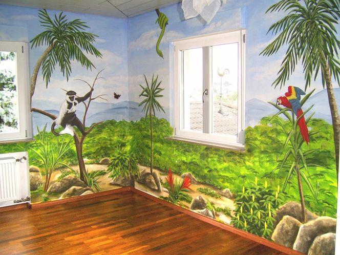 bild wandmalerei kinderzimmer malerei menschen von. Black Bedroom Furniture Sets. Home Design Ideas