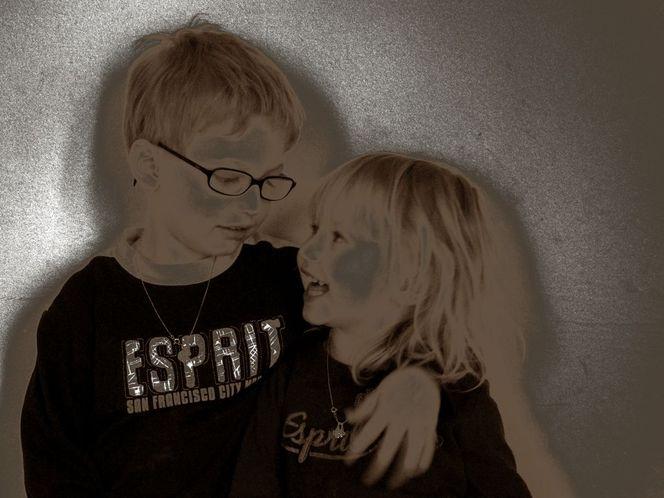 Kinder, Schön, Famillie, Digital, Spielen, Sephia