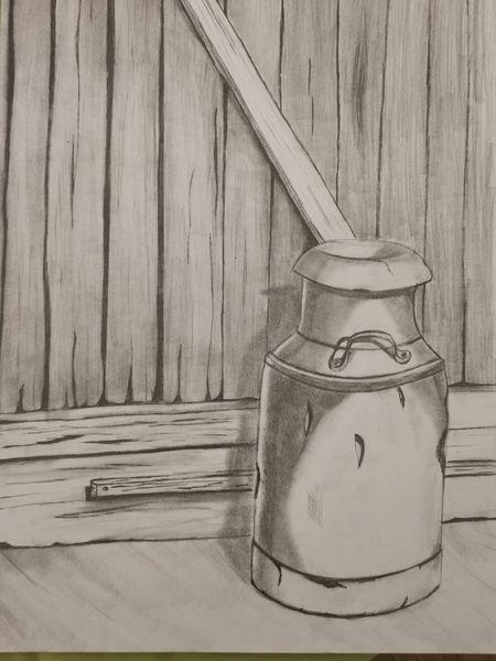 Milchkanne, Scheunentor, Schwarz weiß, Malerei