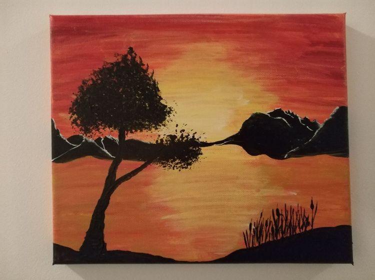 Landschaft, Wasser, Abendstunden, Sonnenuntergang, Seeufer, Malerei