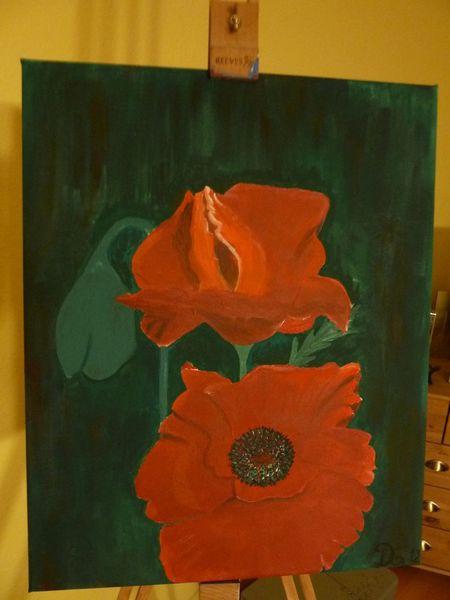 Mohnblumen, Acrylmalerei, Blumen, Natur, Malerei, Pflanzen