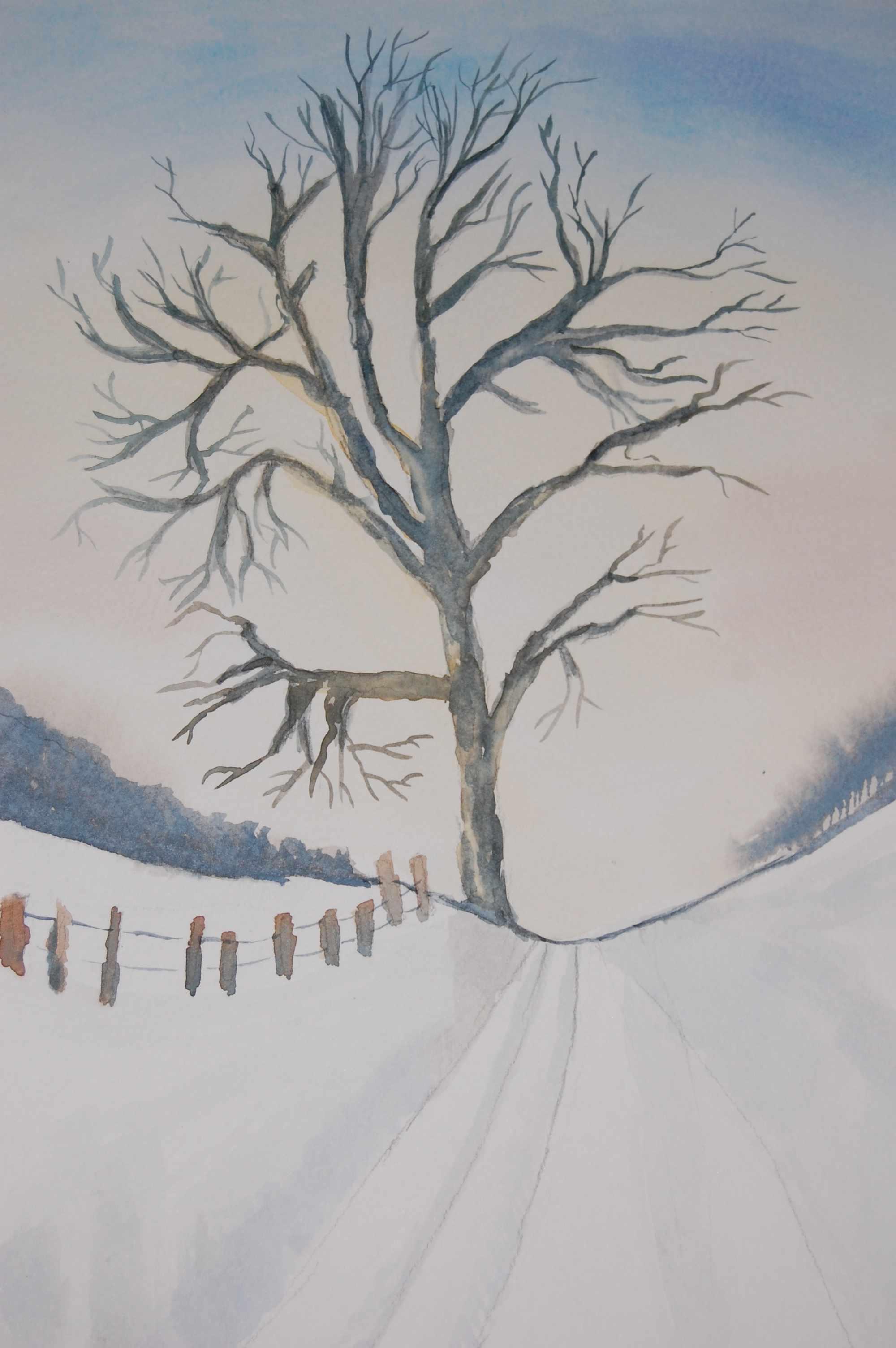Einsamer Baum Auf Dem Feld Baum Schnee Winter Aquarell Von