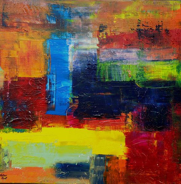 Rakeltechnik, Abstrakte kunst, Acrylmalerei, Malerei