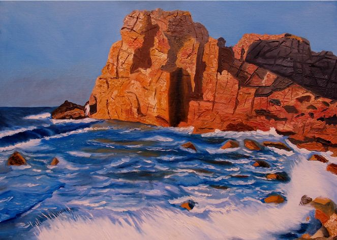 Natur, Küstenlandschaft, Ölmalerei, Landschaft, Malen, Malerei