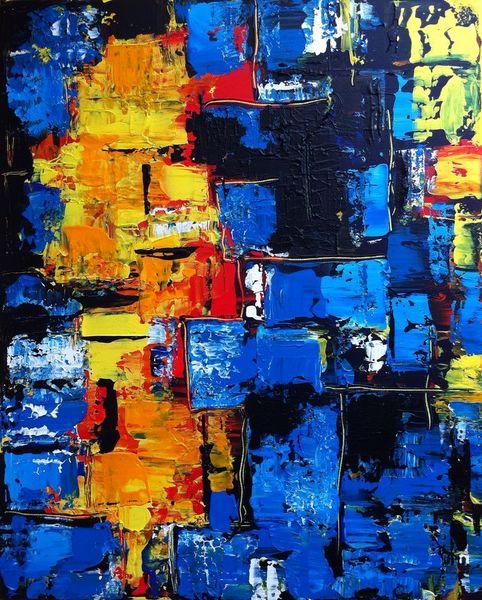 Gelb, Abstrakt, Blau, Acrylmalerei, Malerei