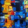 Blau, Acrylmalerei, Gelb, Abstrakt
