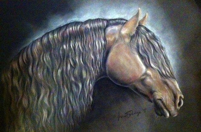 Pferde, Pferdeportrait, Hengst, Friese, Malerei, Tiere