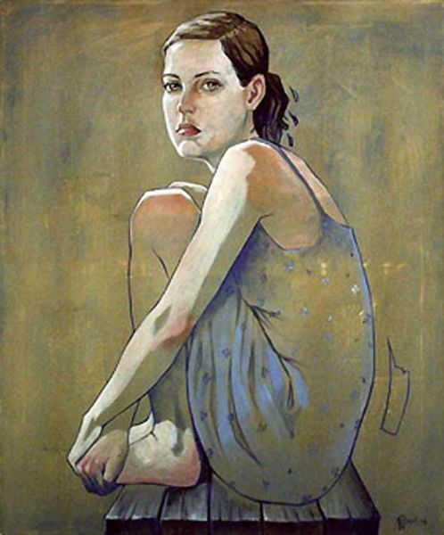 Mädchen, Portrait, Acrylmalerei, Sitzen, Frau, Malerei