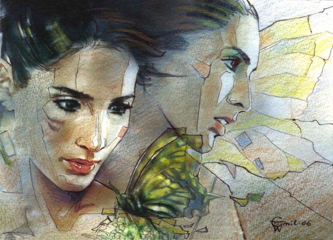 Frau, Romantik, Portrait, Fantasie, Aquarellmalerei, Kreide