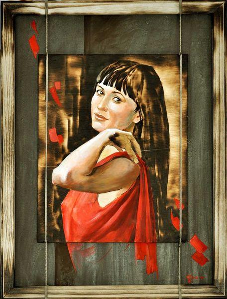 Portrait, Frau, Mädchen, Acrylmalerei, Figurativ, Feuer