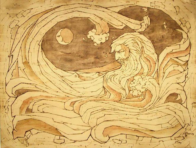 Portrait, Poseidon, Brandmalerei, Fantasie, Malerei