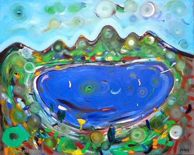 Grün, Strössig, Boot, Blau, Ölmalerei, See