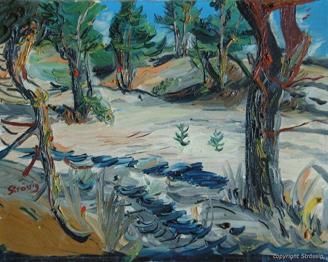 Wald, Kiefer, Malerei, Fluss, Baum, Sand