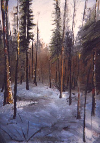Winter, Schnee, Wald, Kalt, Baum, Malerei