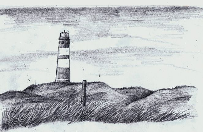 Bleistiftzeichnung, Leuchtturm, Nordfriesland, Amrum, Meer, Deutschland
