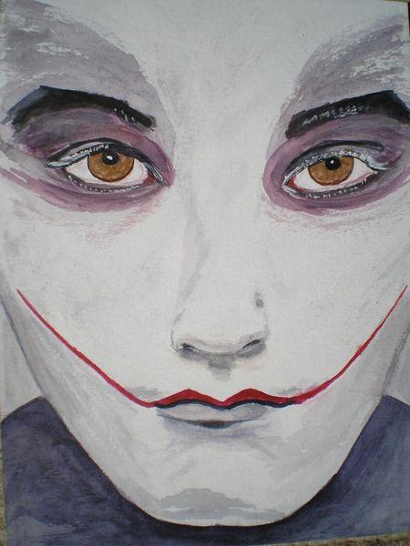 Harlekin, Aquarellmalerei, Clown, Mann, Gesicht, Junge