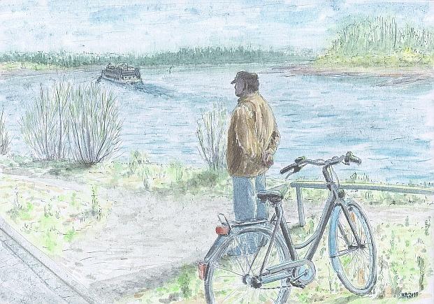 Schiff, Mann, Rhein, Malerei, Menschen, Richtung