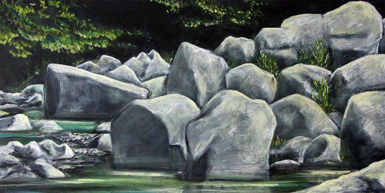 Pastellmalerei, Malerei, Felsen, Wasser