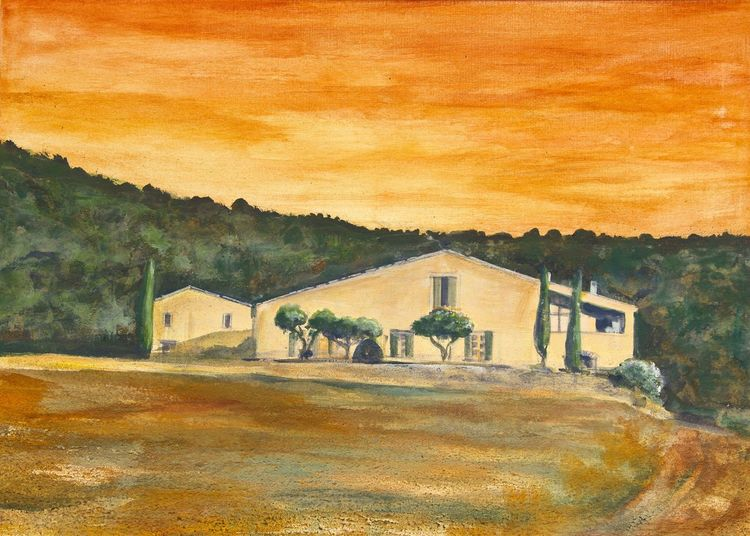 Provence, Haus, Erdfarben, Malerei