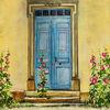 Stockrosen, Tür, Südfrankreich, Malerei