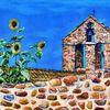 Sonnenblumen, Drome, Kapelle, Malerei