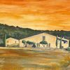 Erdfarben, Provence, Haus, Malerei