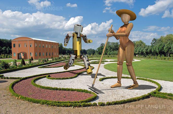 Roboter, Park, Baum, Gartenarbeit, Haus, Tor