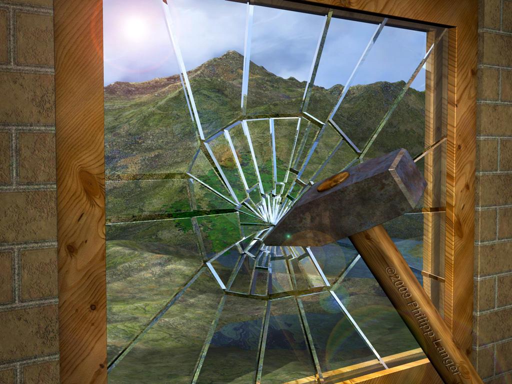 Bild visualisierungen splintered splintering breaking for Fenster hammer