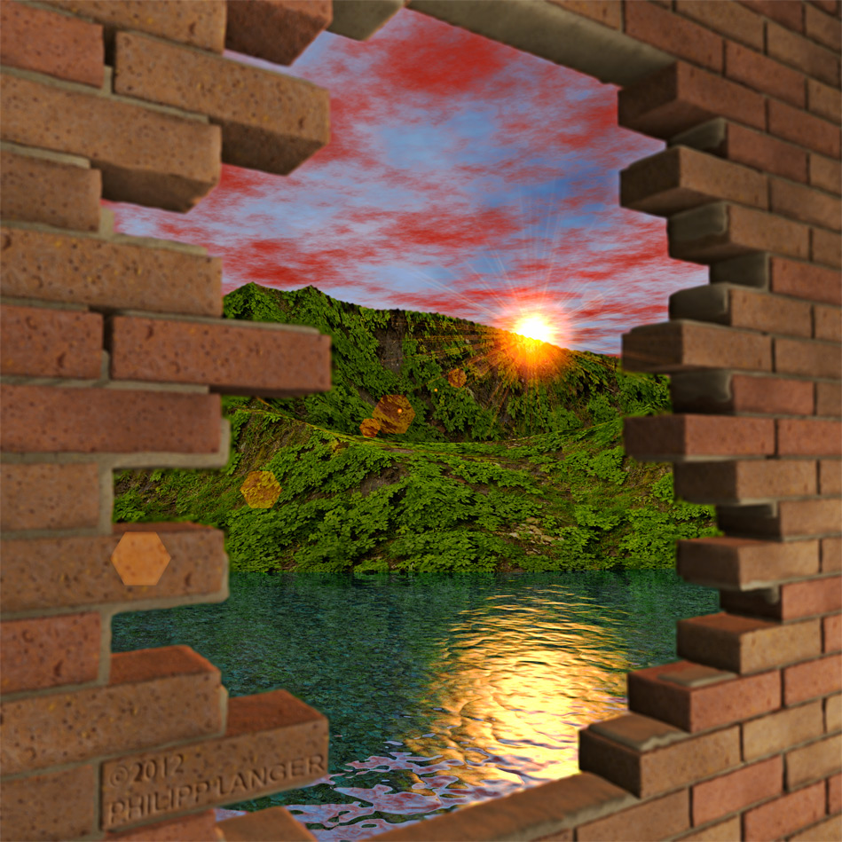 Kunstnet werke digitale kunst landschaften mauerblick wall