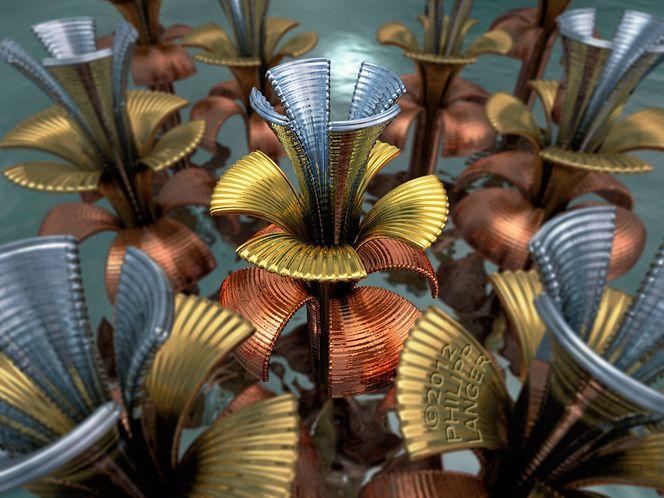 Rippled, Tin blossoms, Specularity, Krümmen, Metallkunst, Metallglanz