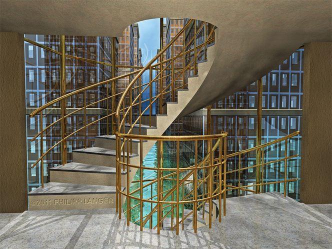 Digital, Illustration, Treppenstufen, Fassade, Phantastik, Eu