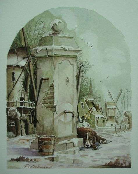 Hund, Winter, Realismus, Windmühle, Fantasie, Landschaft