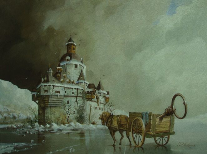 Romantiek, Landschaft, Pferde, Realismus, Karre, Fantasie