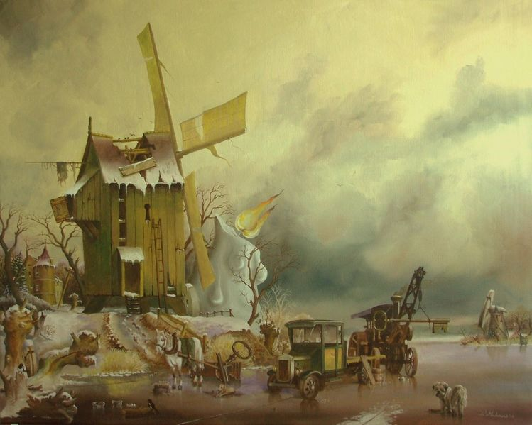 Locomobiel, Hund, Mule, Winter, Realismus, Kertse